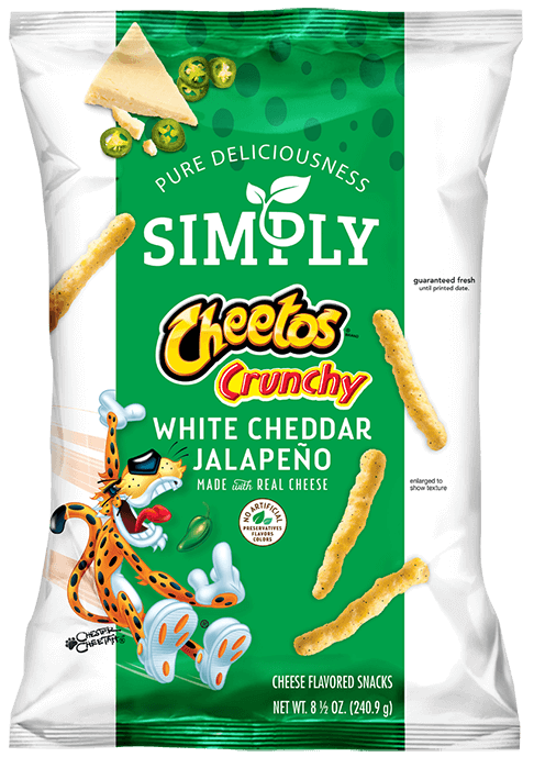 Bag of Simply CHEETOS® Crunchy White Cheddar Jalapeño Cheese Flavored Snacks